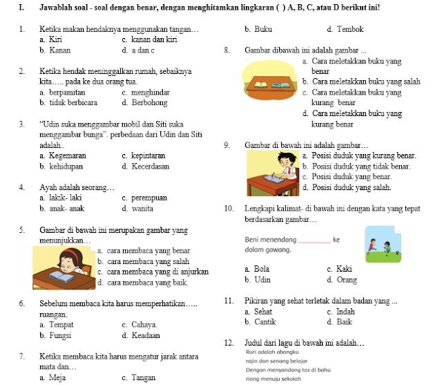 Soal Ujian Semester Kelas 1 Tema 2 SD/MI