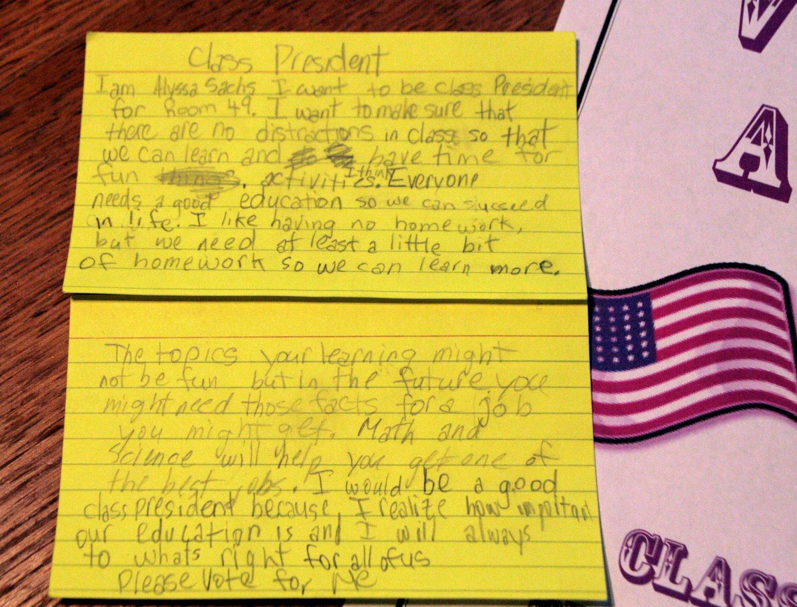 How do you write a speech for class president