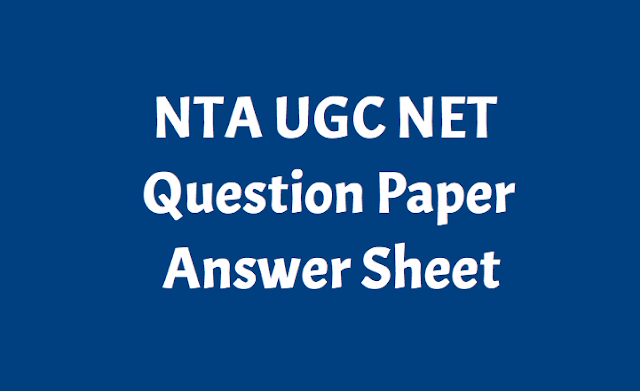 NTA UGC NET Question paper, Answer sheet