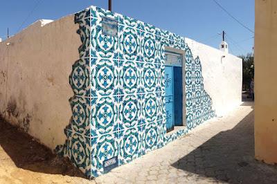 ilusión óptica de mosaicos de cerámica.