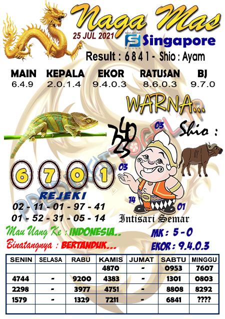 Syair Naga Mas SGP Minggu 25 Juli 2021