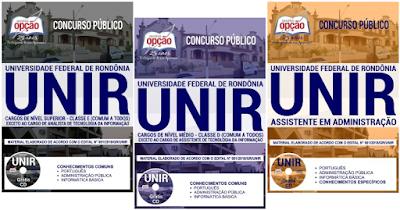 Apostilas da UNIR concurso Universidade Federal de Rondônia - cargos Nível Superior e Médio -