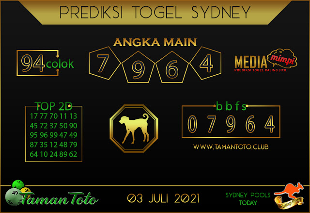 Prediksi Togel SYDNEY TAMAN TOTO 03 JULI 2021