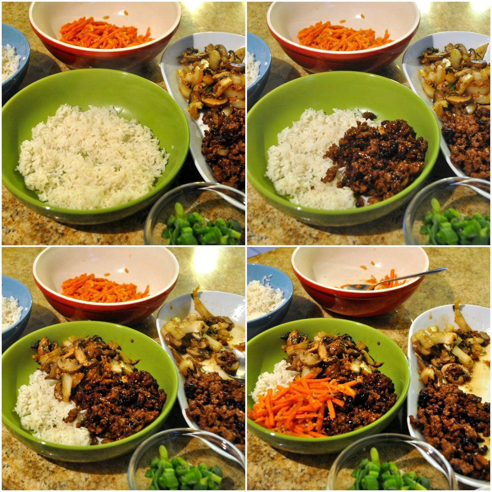 Last Step Is To Put The Bowls Together  Rice  Beef  Veggies  Carrots   Done! You Can Also Add Scallions And Sriracha To The Dish  I Went Very