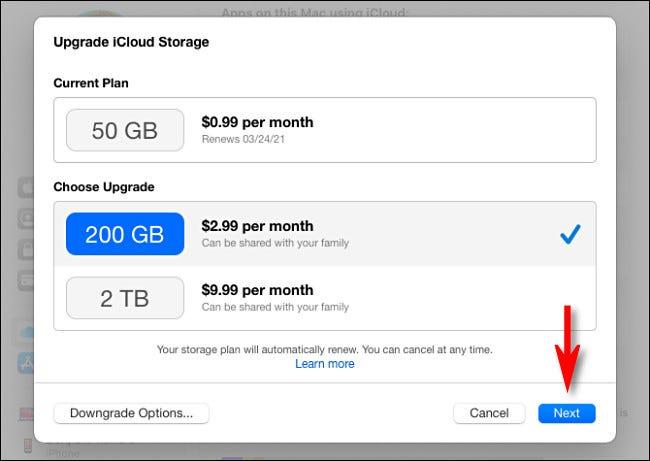 """حدد خطة تخزين iCloud ، ثم انقر على """"التالي""""."""