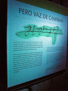 cartaz com assinatura de Pero Vaz de Caminha