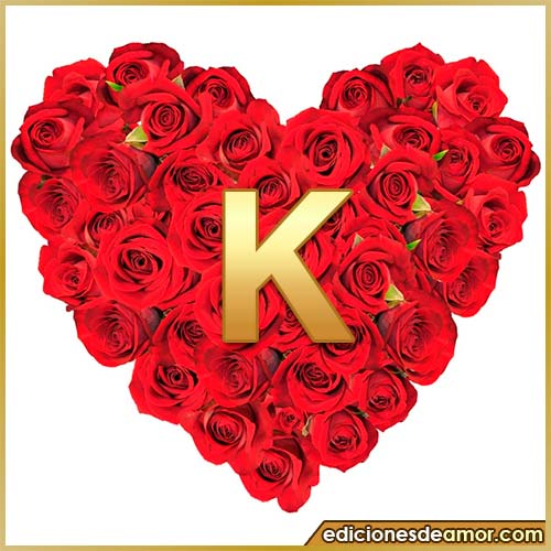 corazón de rosas con letra K