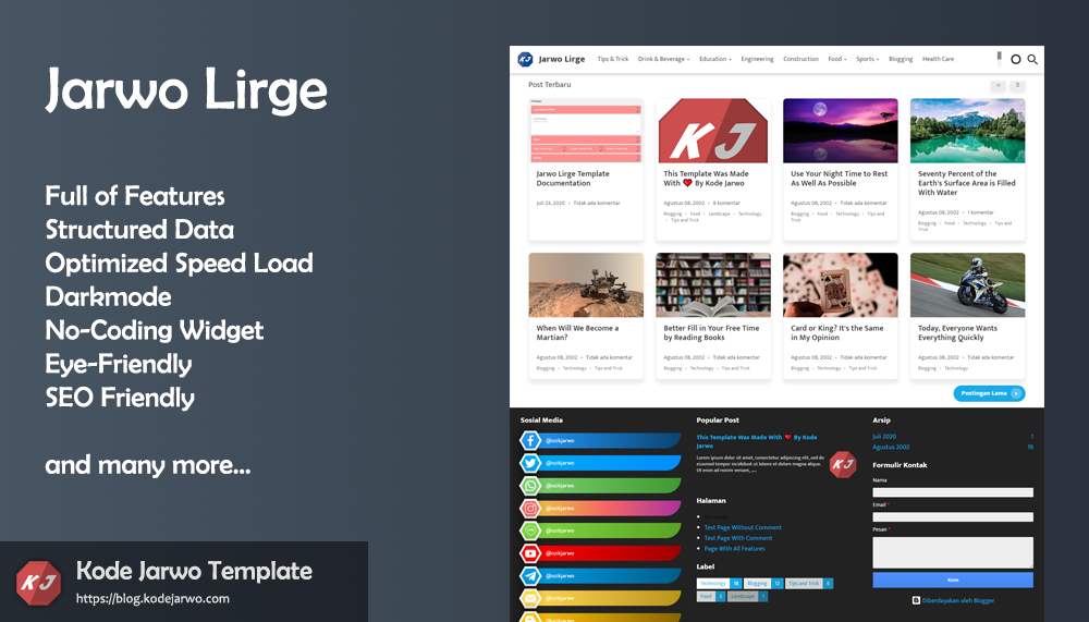 Jarwo Lirge Full Features Blogger Template