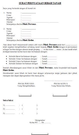 Contoh Format Surat Hibah Tanah Lengkap Word Dadang Jsn