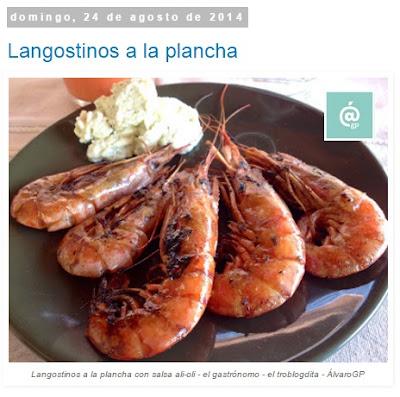 Recetas TOP10 de El Gastrónomo en mayo 2016 - Langostinos a la plancha