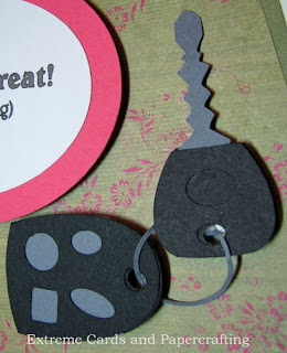 key and fob inside handbag card