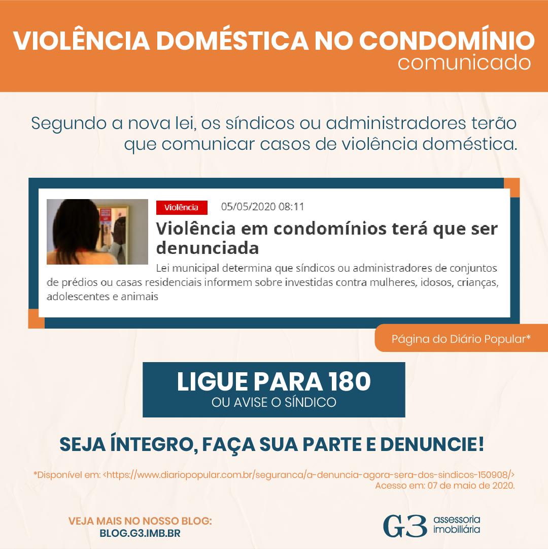 Imagem com a notícia do portal diário popular sobre a violência doméstica nos condomínios, junto com o número para denúncia