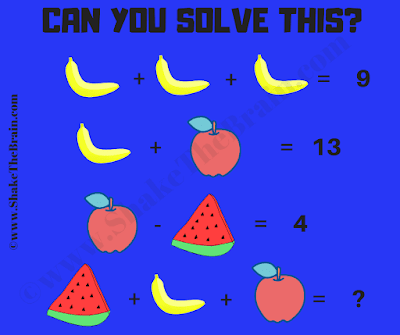 In this Fruits Math Picture Brain Teaser, find value of each fruit and then solve the last math equation