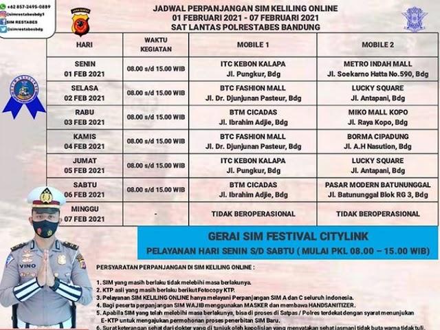 Jadwal Lengkap Layanan SIM Keliling Polrestabes Bandung Bulan Februari 2021