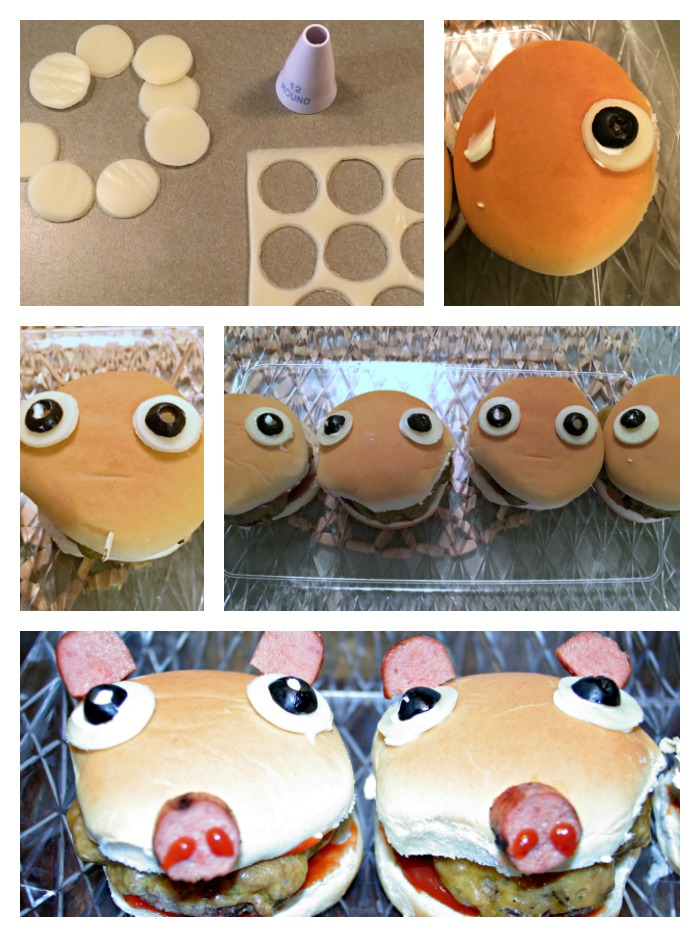 Walmart Family Mobile PLUS, #DataAndAMovie, #AD, #FamilyMobile, Barn Animal theme night, Pigburgers, donut acorns, cauliflower sheep, Hamburgers that look like pigs