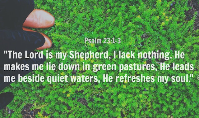 The Lord is my Shepherd, I shall not be in want. He makes me lie down in green pastures, he leads me beside quiet waters, he restores my soul.
