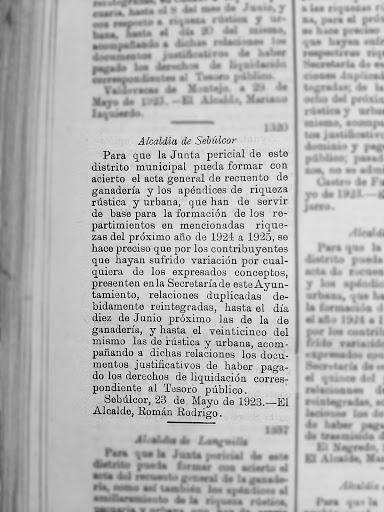 Anuncio en el Boletín Oficial de Segovia