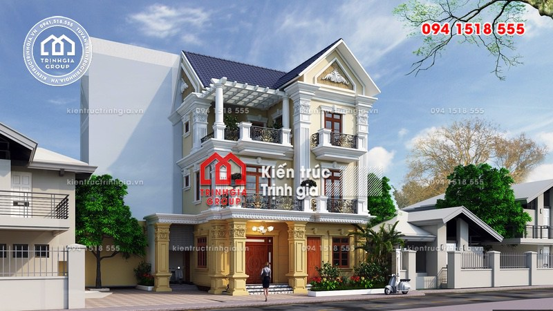 Biệt thự 3 tầng đẹp mái thái tân cổ điển nhẹ nhàng ở Hà Nội