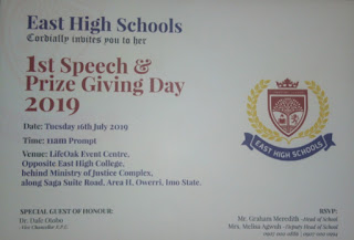 Scholars, Dignitaries Set To storm Imo for the East High School Speech and Prize Giving Day Program 2019