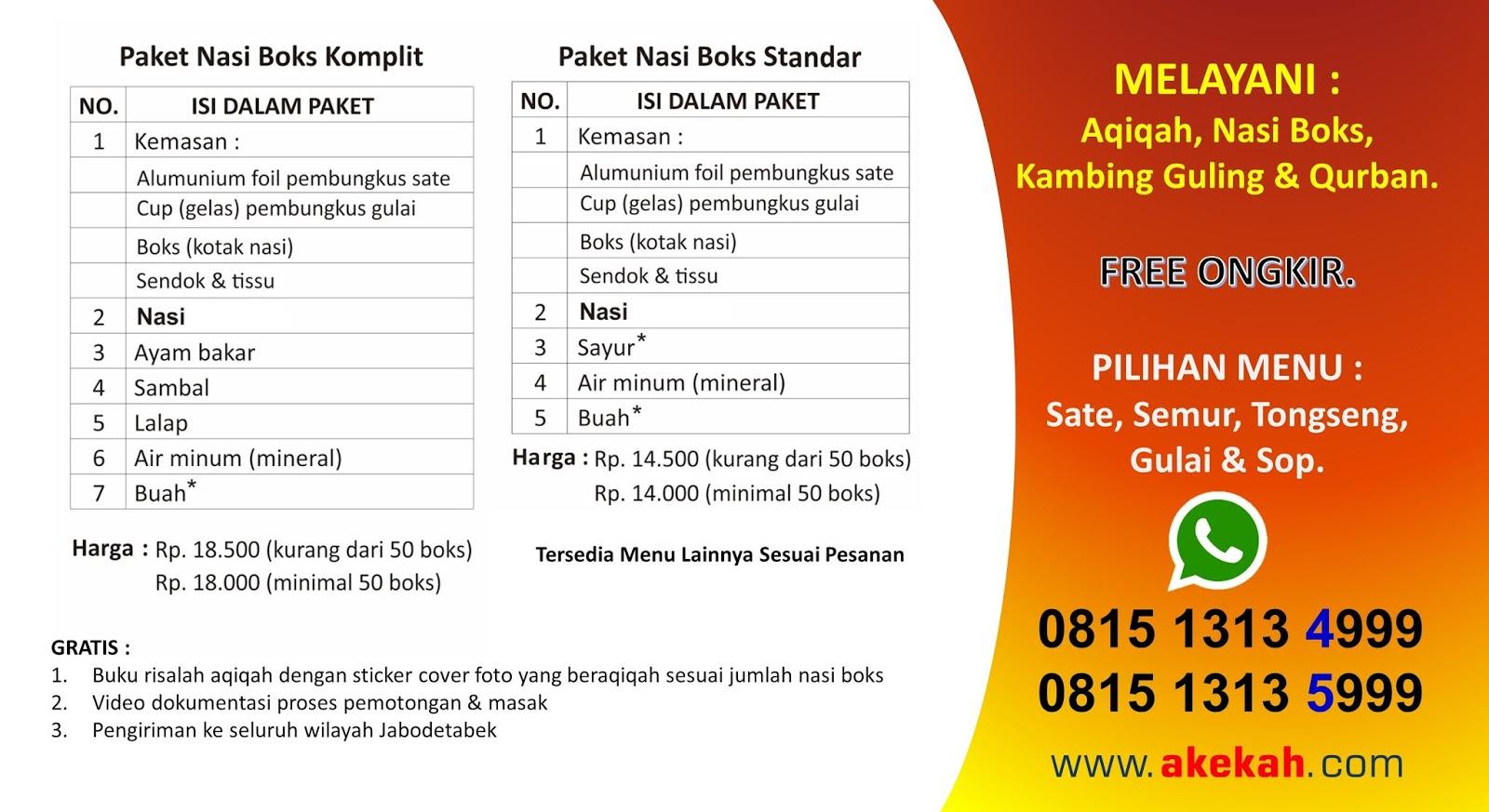 Harga Paket Akikah & Catering Wilayah Jasinga Bogor