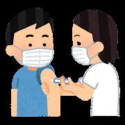予防注射を受ける人のイラスト(男性)