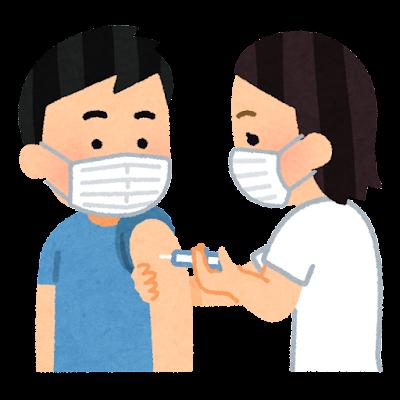 予防注射を受ける人のイラスト(マスクあり)