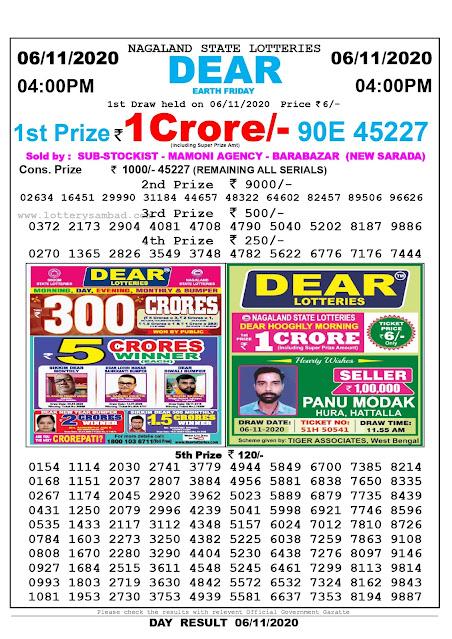 Lottery Sambad 06-11-2020, Lottery Sambad 4 pm results, Nagaland Lottery Results, Lottery Sambad Today Results Live, Day results