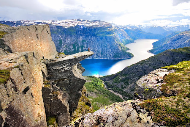 Trolltunga or Troll's Tongue Rock—a rocky slab that juts out precariously over the fjord valley. I can only imagine what this is going to be like! Photo: Reisemål Hardanger Fjord/Terje Nesthus/FjordNorway.