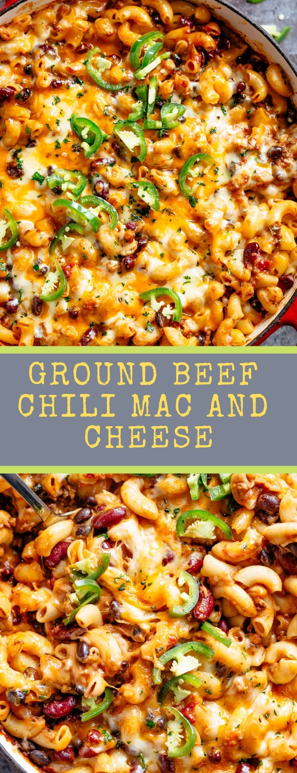 Ground Beef Chili Mac And Cheese #cafedelites #macandcheese #chili #easyrecipes #dinner #cincodemayo