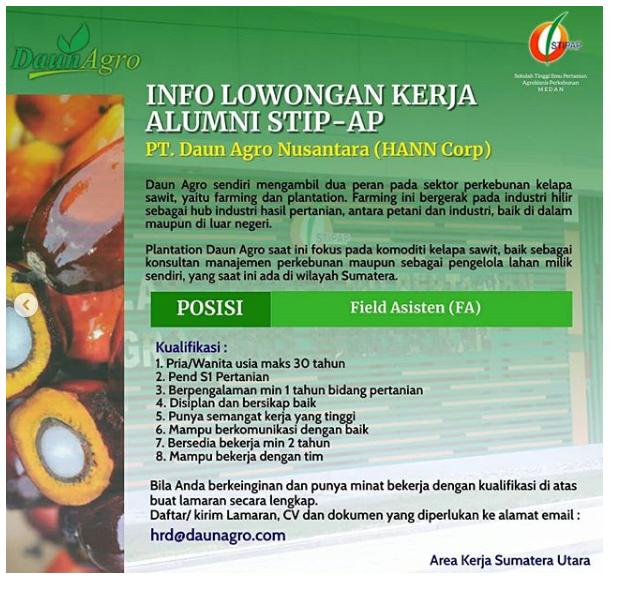Lowongan Kerja PT Daun Agro Nusantara (HANN Corp) Oktober 2020