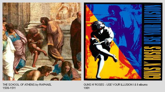 The-School-of-Athens-by-Raphael-Use-Your-Illusion-Albums-by-Guns-n-Roses