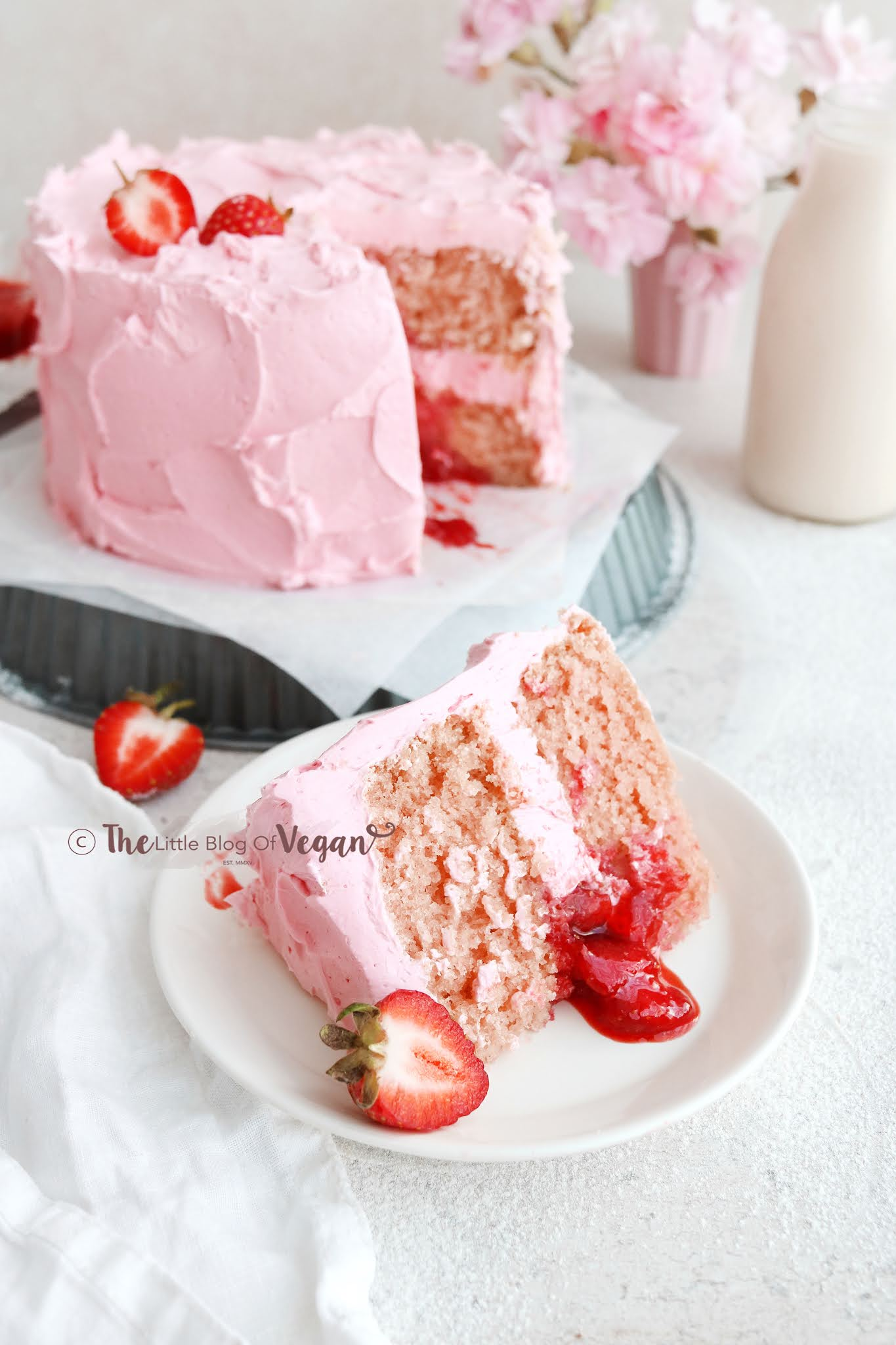 Vegan cake slice with berry compote
