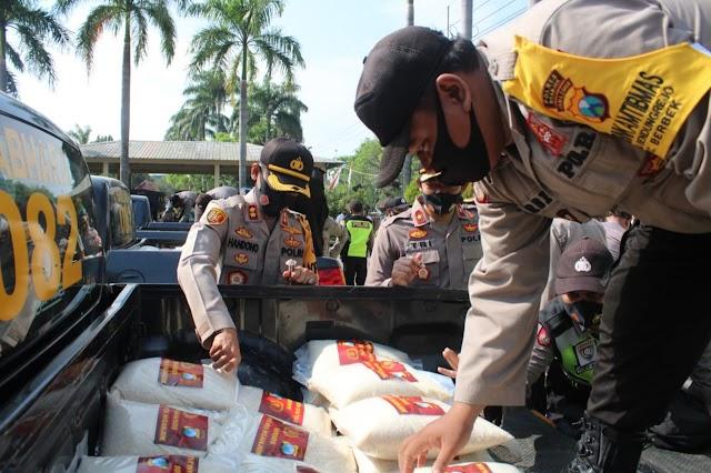 2000 Paket Beras Disiapkan Kapolres Nganjuk,Guna Membantu Warga Terdampak Covid-19