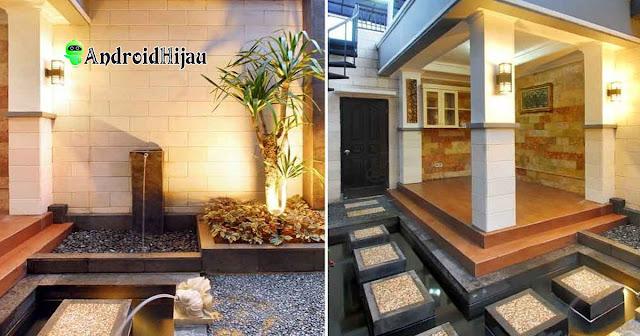 mushola rumah konsep outdoor dengan tempat wudhu dan air mancur