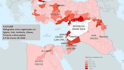 La mayoría de los refugiados sirios se encuentran en países vecinos a Siria . Fuente: Acnur