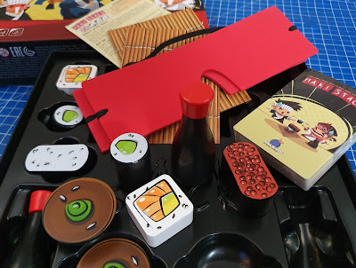 Maki Stack game review box contents wooden playing pieces sushi soy sauce bowl etc