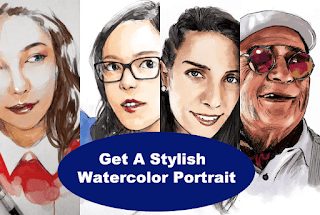 Get a stylish watercolor portrait from your images