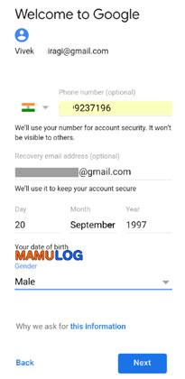 gmail id form