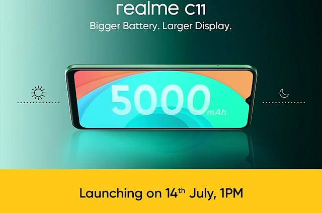 रियल मी c11 2gb रैम 32GB इंटरनल स्टोरेज और 5000 एमएच की बैटरी के साथ 14 जुलाई को होगी लॉन्च।