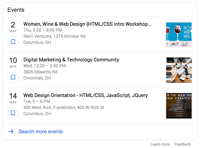 Google events rich snippet