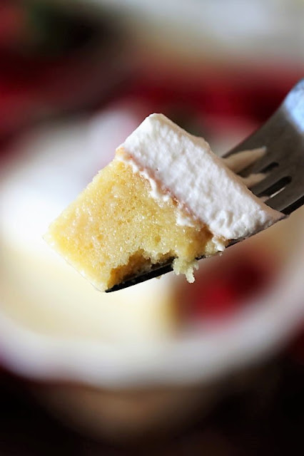 Bite of Tres Leches Cake on Fork Image