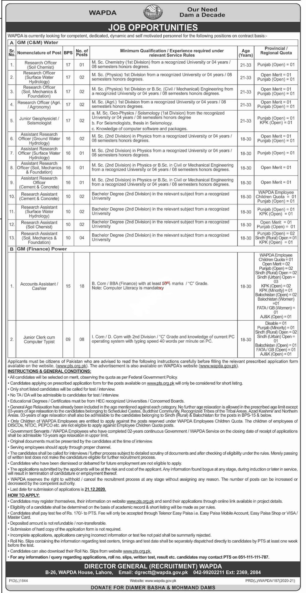 Water And Power Development Authority WAPDA Jobs 2020 75+ Posts via PTS Application Form
