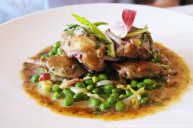 Pigeon Roasted with Grey Shallots, Petits Pois, and Broad Beans a la Francaise at Le Violon D'Ingres in Paris
