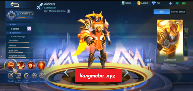 Script Skin Aldous M1 King of Supremacy Full Effect Mobile Legends