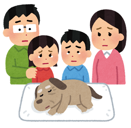 ペットの犬を看取る家族のイラスト