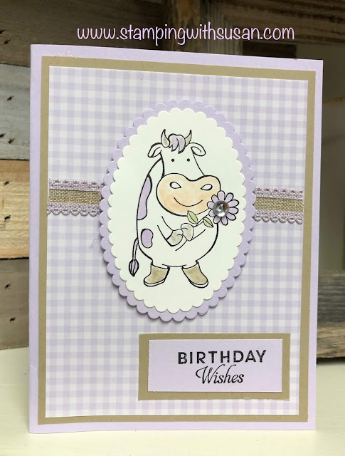 Stampin' Up!, Over the Moon Birthday, www.stampingwithsusan.com, Stampin' Up! Purple Posy scalloped Linen Ribbon