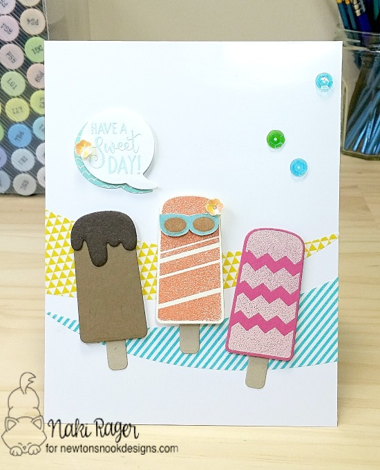 Cute Popsicle card by Naki Rager | Party Pops Stamp set by Newton's Nook Designs #newtonsnook