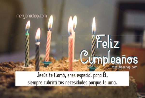 imagen con frases cristianas de Jesus para felicitar amigo en feliz cumpleaños torta pastel con velitas