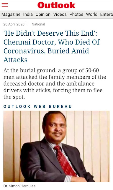 news article of a doctor in Chennai