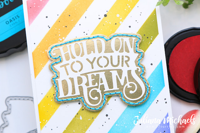 Hold On To Your Dreams Card by Juliana Micheals featuring Tonic Studios Hold On To Your Dreams Dot and Drop Die Exclusively for Scrapbook.com